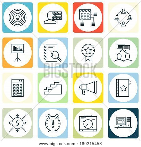 Set Of 16 Project Management Icons. Can Be Used For Web, Mobile, UI And Infographic Design. Includes Elements Such As Money, Schedule, Teamwork And More.
