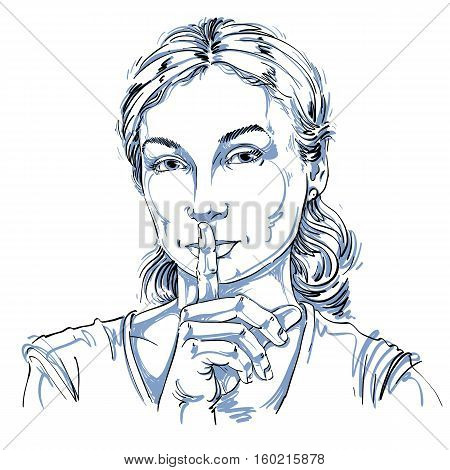 Vector Art Drawing, Portrait Of Peaceful Girl Making A Hush Sign With Her Finger. Facial Expressions