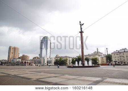 The Area Of Novorossiysk Sea Commercial Port. Stella In The Square.