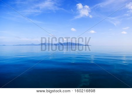 View on the waters of Gulf of Thailand. Blue color tones