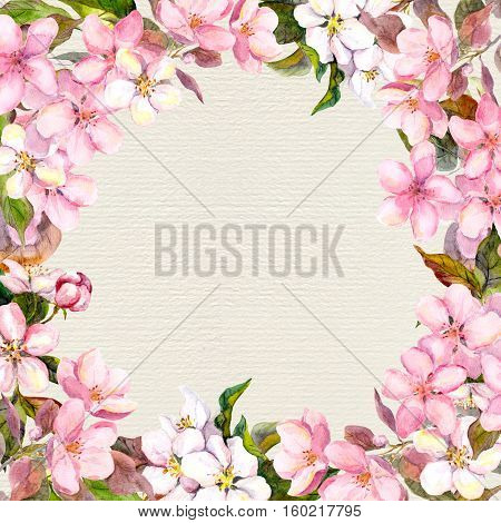 Pink flowers - apple, cherry blossom. Floral frame for romantic greeting card. Watercolour