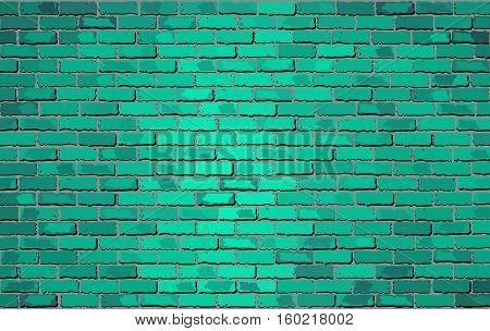 Turquoise brick wall - Illustration,  Shades of turquoise brick wall vector,  Realistic light and dark turquoise color brick wall