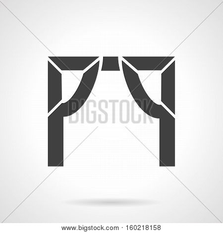 Abstract silhouette sign of tented arch. Arched frame with concave elements. Architectural decoration object. Symbolic black glyph design vector icon.