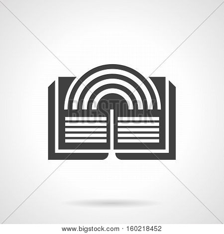 Abstract silhouette of open magic book with rainbow. Literary imagination concept, literature genres. Web element for e-library, bookstore. Symbolic black glyph design vector icon.