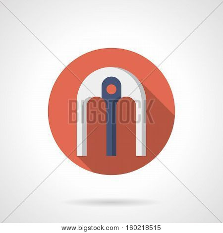 Classic semicircular arch with single blue support pillar. Decorative elements for architectural objects. Red round flat color design vector icon.