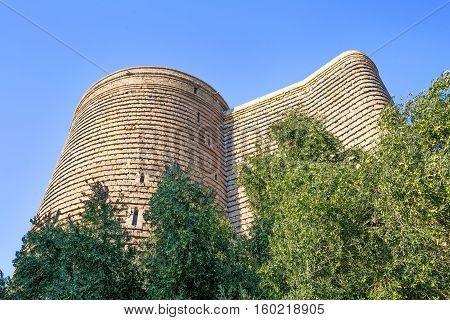 Maiden's Tower in Baku, Azerbaijan, olive trees