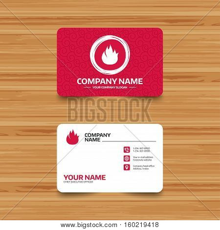 Business card template with texture. Fire flame sign icon. Fire symbol. Stop fire. Escape from fire. Phone, web and location icons. Visiting card  Vector