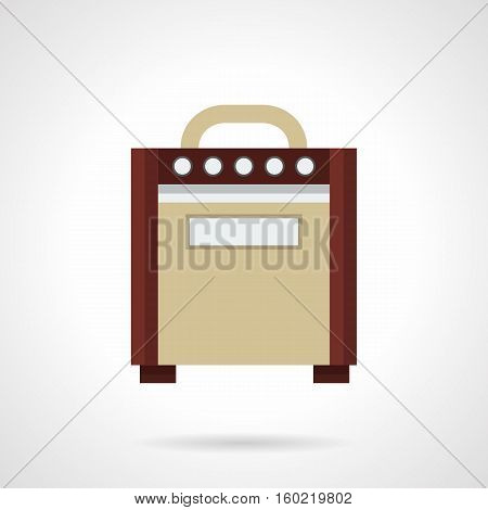 Retro style brown amp for electric guitars. Professional musical equipment. Sound control on concert stage, solo performance. Flat color design vector icon.
