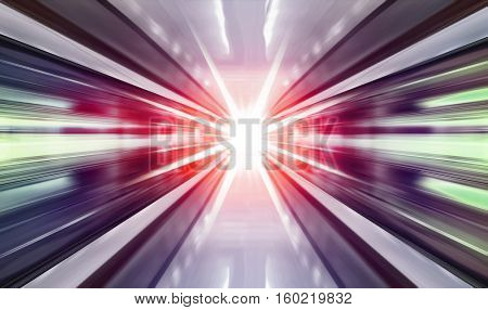 driving at high speed in subway - motion blur