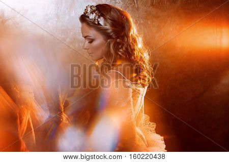 Beautiful girl bride in a luxurious wedding dress, portrait in Golden tones, the effects of glare