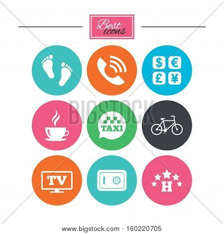 Hotel, apartment services icons. Coffee sign. Phone call, kid-friendly and safe strongbox symbols. Colorful flat buttons with icons. Vector