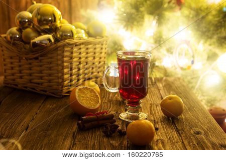 Christmas Mulled Wine On Wooden Table.