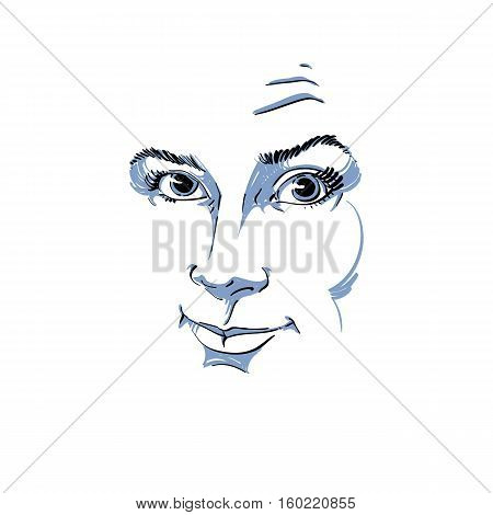 Graphic Vector Hand-drawn Illustration Of White Skin Attractive Skeptic  Lady. People Face Expressio