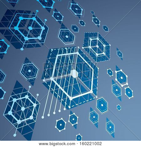 Modular Bauhaus 3d vector blue background created from simple geometric figures like hexagons and lines. Best for use as advertising poster or banner design.