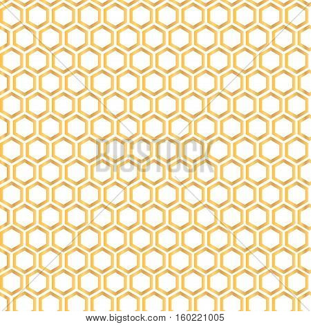 Seamless pattern with golden honey comb background