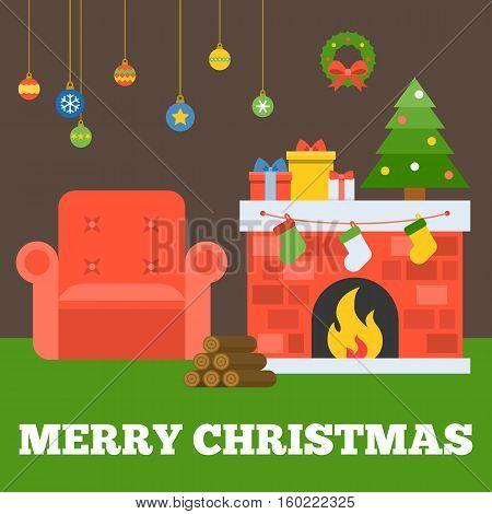 Merry christmas typographic design with fireplace, christmas socks, christmas tree, firewood, sofa, present boxes, garland and hanging ball, flat design vector
