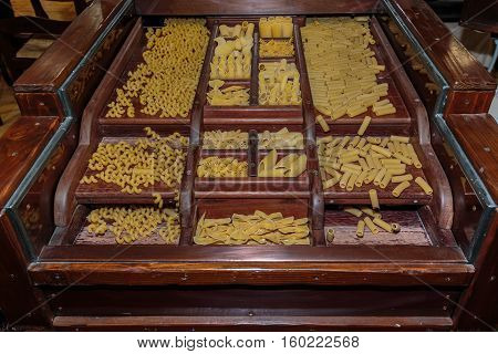 Italian Pasta Assortment In Wooden Compartmented Box