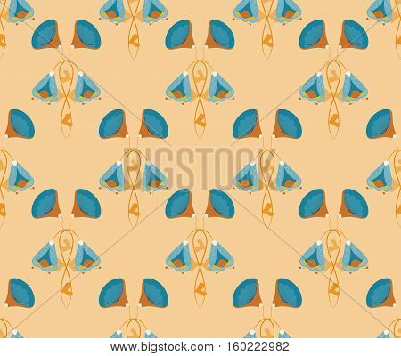 Seamless with blue vector flowers on brown. Illustration.
