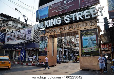 PATTAYA THAILAND - 20 NOV 2016: Unidentified people on a Walking Street in Pattaya. Walking Street road is a favorite tourist attraction. Night Place famous tourists visited Thailand.