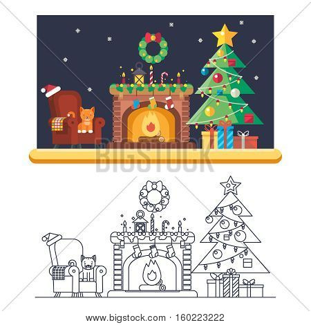 Cristmas Room New Year Santa Claus Icons Greeting Card Elements Flat Lineart Template Vector Illustration