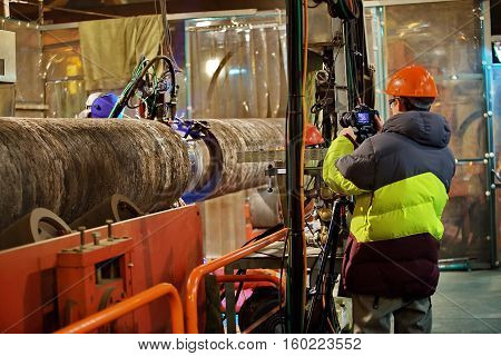 Photographing of welding of the pipeline in shop. Chronology of installation of the pipeline.