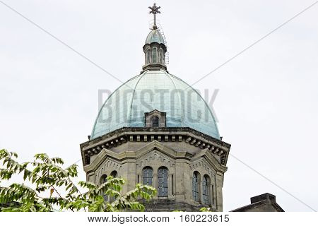 Dome of Manila Cathedral close-up of Roman Catholic basilica located at Plaza de Roma in the Intramuros district of the City of Manila Philippines
