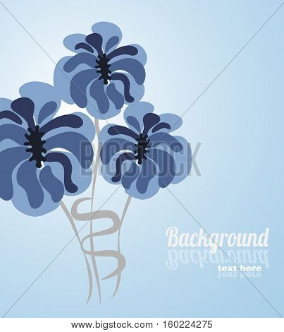 Floral vector card with blue flowers and place for text.