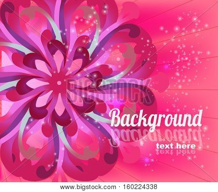 Flower pink card with place for text. Vector illustration.