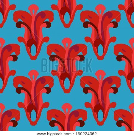 Fantasy abstract seamless. Vector pattern on blue background.