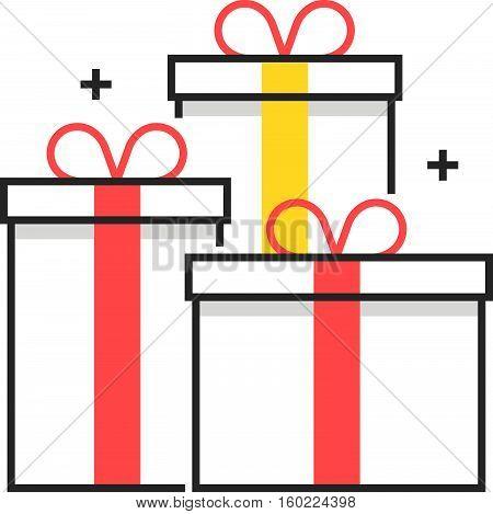Color Box Icon, Gift Box Concept Illustration, Icon