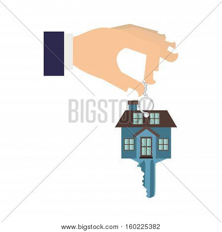 silhouette color with hand holding Keychain in shape of House vector illustration