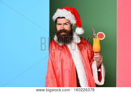 Funny Bearded Santa Claus Man