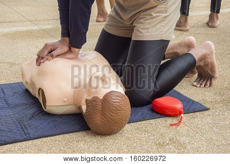cpr training dummy case arrest from drowning