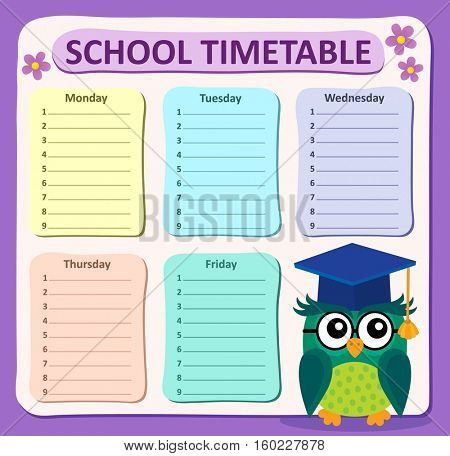 Weekly school timetable subject 4 - eps10 vector illustration.