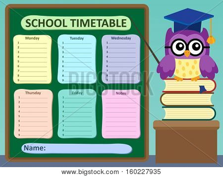 Weekly school timetable subject 2 - eps10 vector illustration.