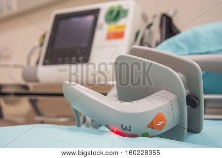 EKG or ECG monitor in emergency room selective focus paddle