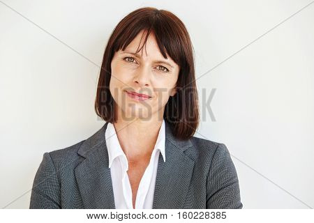 Close Up Portrait Of Serious Business Woman