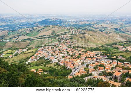 City of San Marino. Aerial view from the hill. The Republic of San Marino