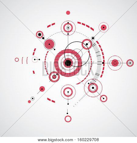 Modular Bauhaus vector red background created from simple geometric figures like circles and lines. Best for use as advertising poster or banner design. Abstract mechanical scheme.