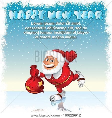 Funny Cute Santa with Gift Sack. Ready for Your Text and Design.
