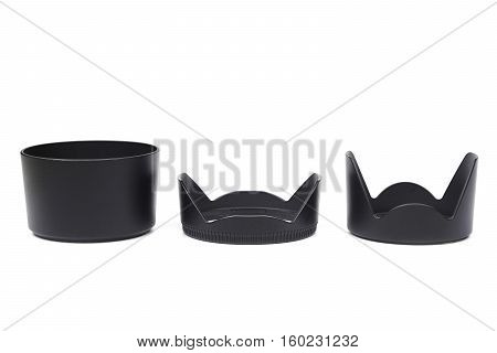Camera lens hood in three different types