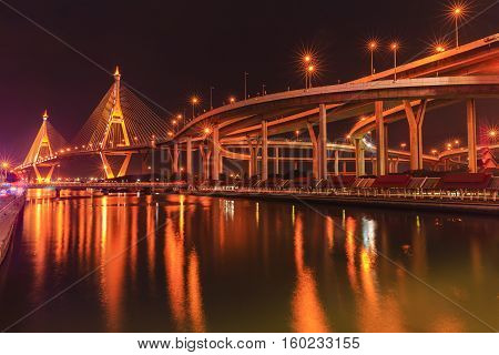 bhumibol bridge cross over river at night in thailand