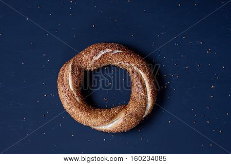 Simit, Turkish bagel on a black background