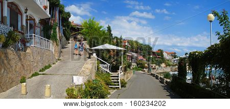 NESEBAR BULGARIA AUGUST 31 2014: Pavements and footpaths old town Nessebar Bulgaria. Clear sunny summer day on the coast of the Black Sea. Panoramic shot.