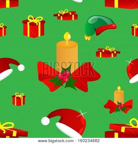 Winter Holiday Seamless Pattern with Christmas candle gift boxes and christmas hats.
