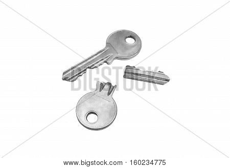 A usable key and a broken key / Symbol of success and failure concept