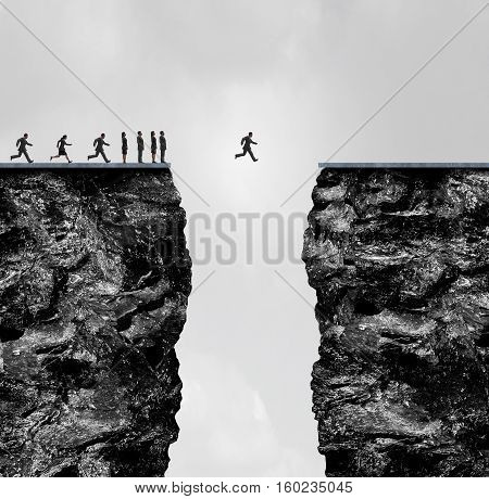 Ignore limitations concept as a business metaphor for incredible confidence and determination to succeed in a 3D illustration style as a group of people stopped at a cliff with one brave individual crosing the gap.