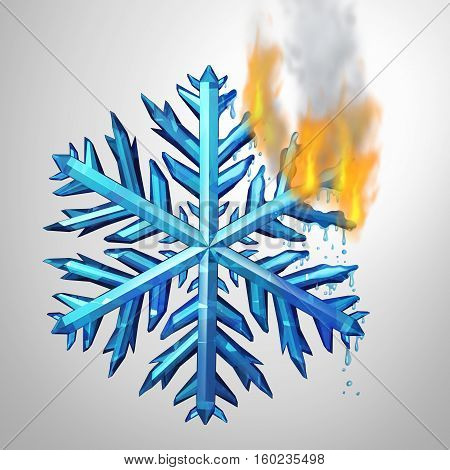 Changing climate concept as a frozen ice crystal snowflake melting and burning in flames as an environmental metaphor for changing weather temerature or global greenhouse effect as a 3D illustration.