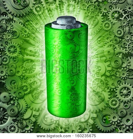 Battery technology symbol and rechargeable energy concept as a green clean electric fuel storage object with mechanical gears and cog wheels as a glowing power metaphor icon as a 3D illustration.