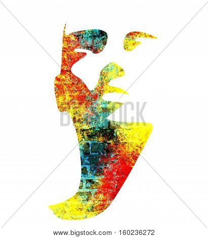 Human head silhouette. Face front view. Elegant silhouette of part of human face. Multicolor grunge brush drawing. Ancient brick wall texture. Double exposure
